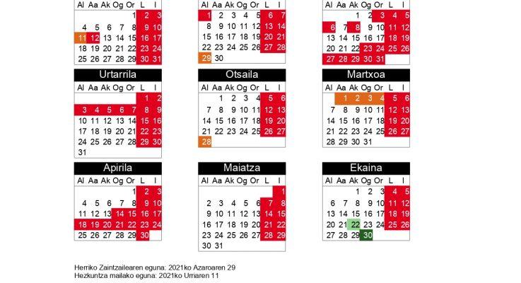 Calendario del centro en el curso 2021-2022